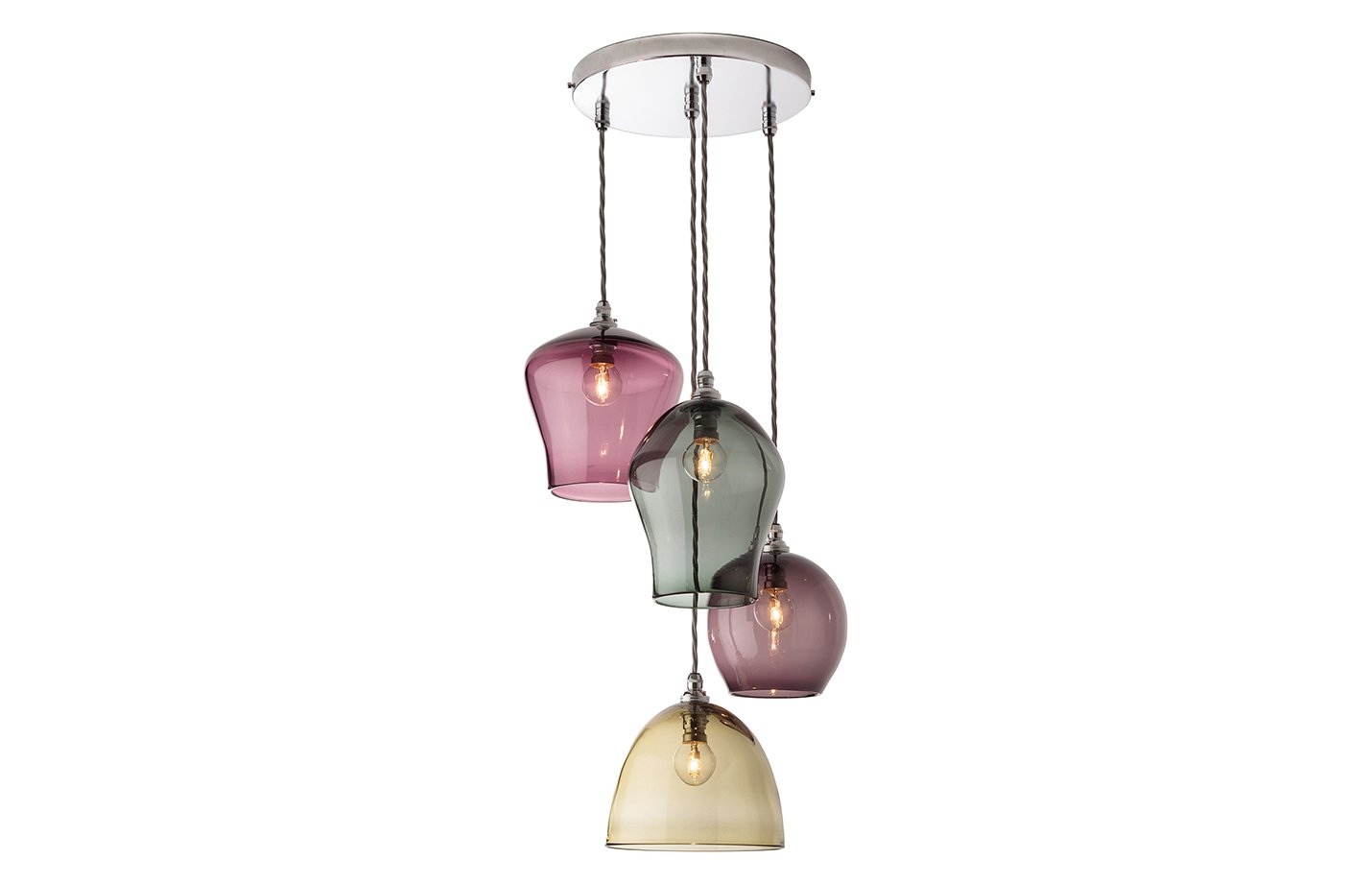 4 drop pendant chandelier lights – Multicolour