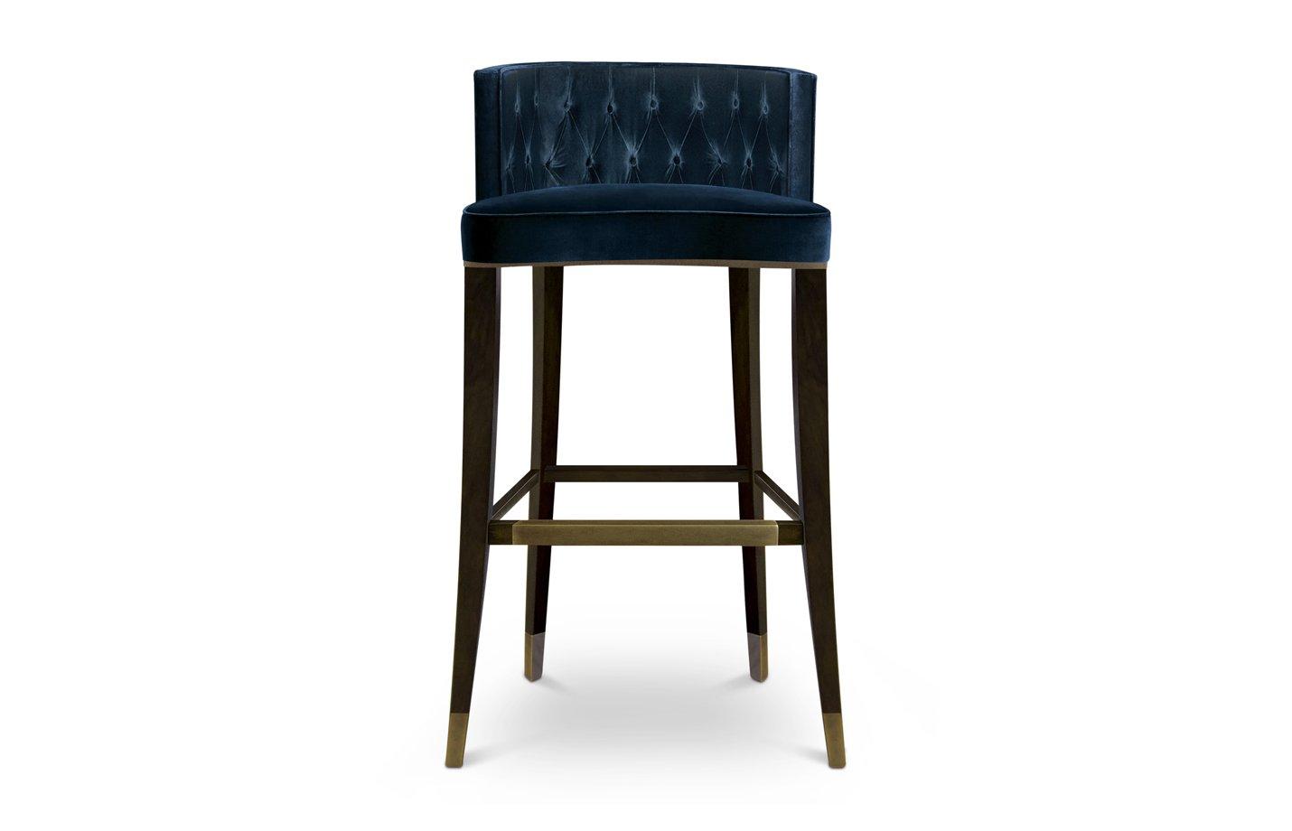 Bourbon bar chair – dark blue