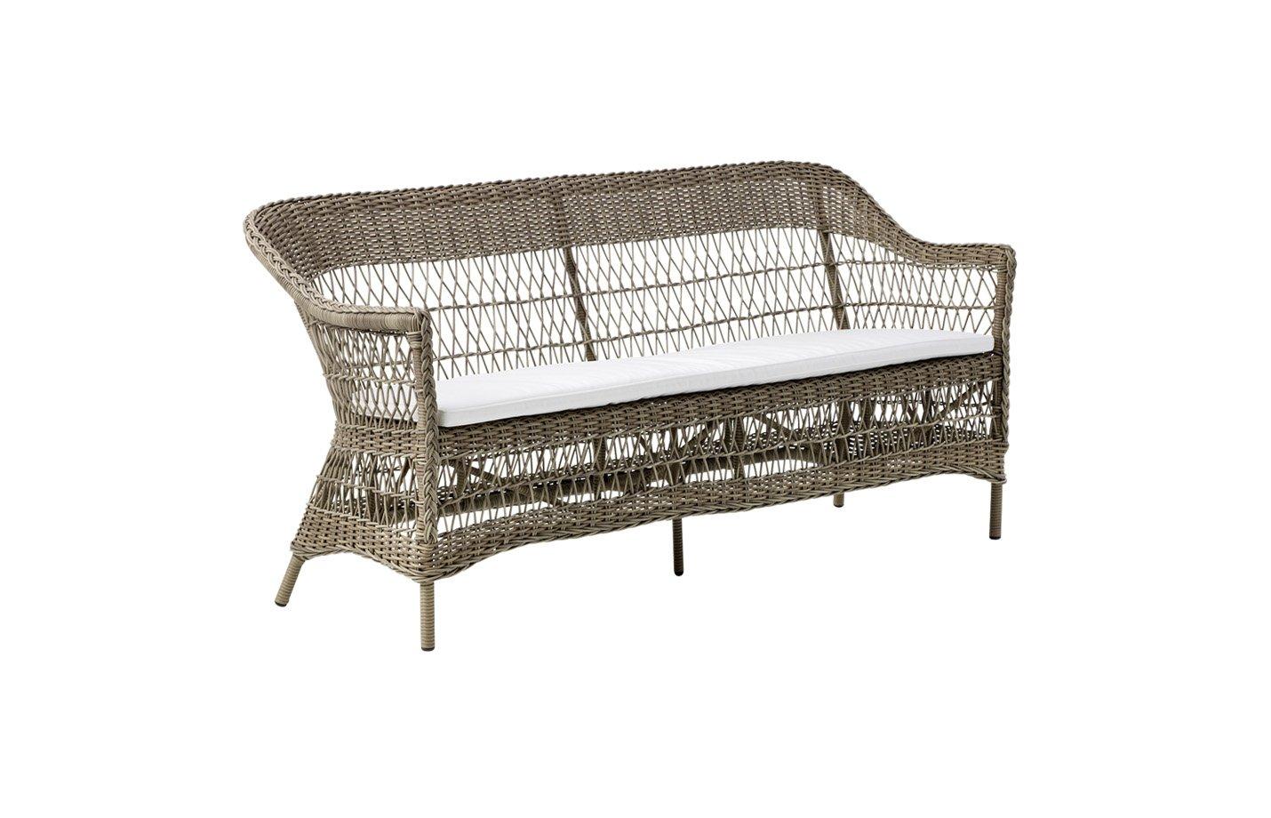 Charlot three seater cushion – Alu rattan – Antique