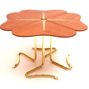 FOUR FOR LUCK Center Table - rosewood - gold