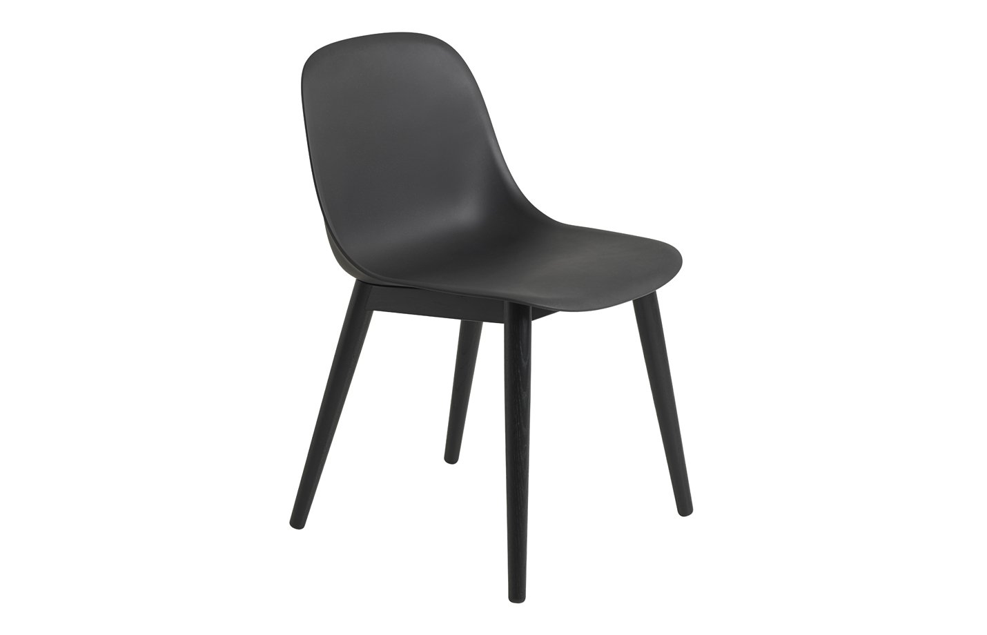 Fiber side chair – wood base – black