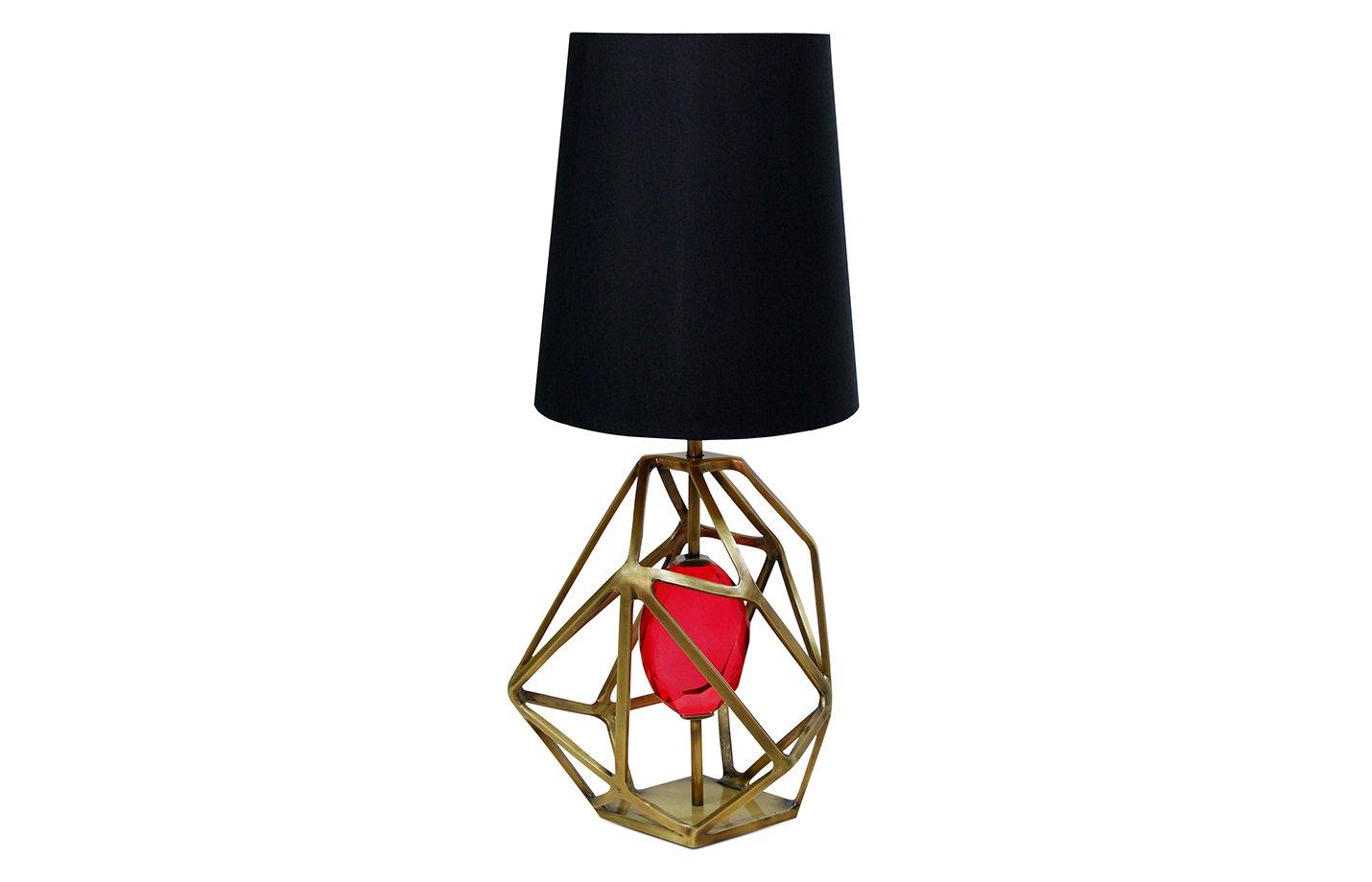 Gem table lamp – Brass – Fuschia