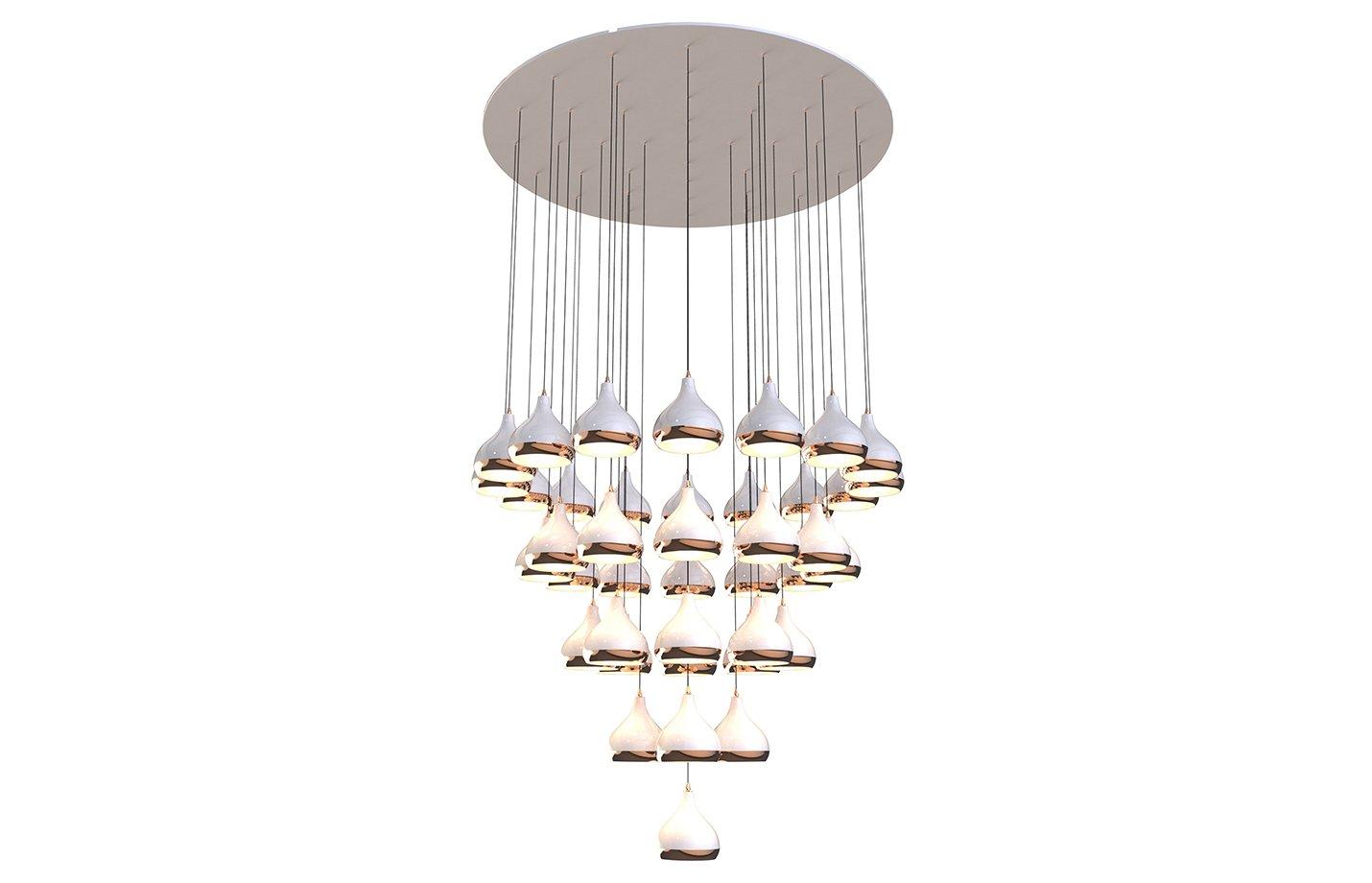 Hanna chandelier light – copper – white
