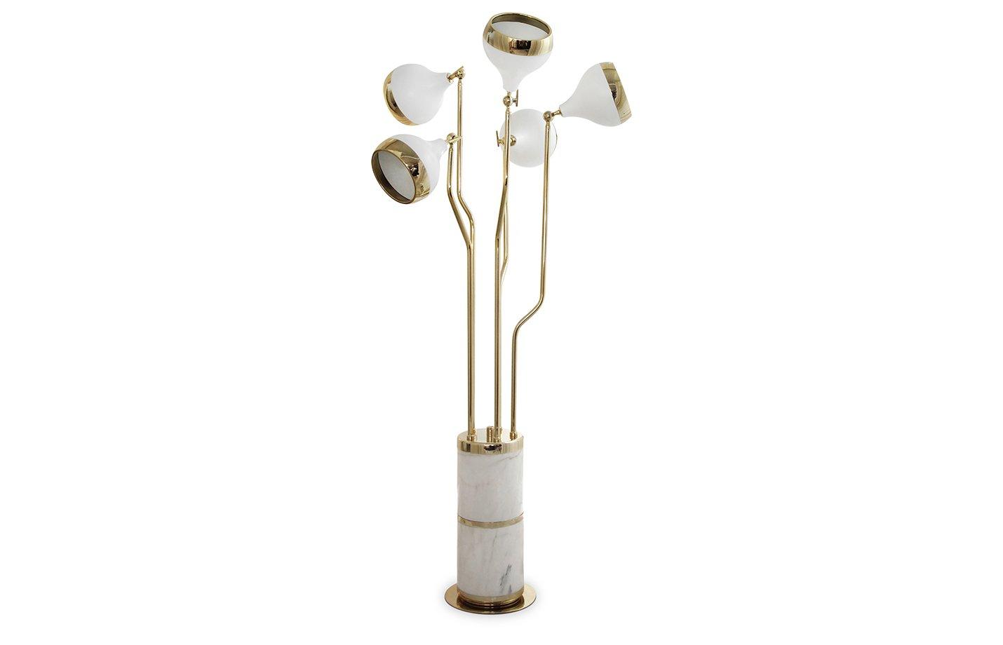 Hanna floor lamp – gold – white