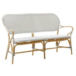 Isabell bench - rattan - White