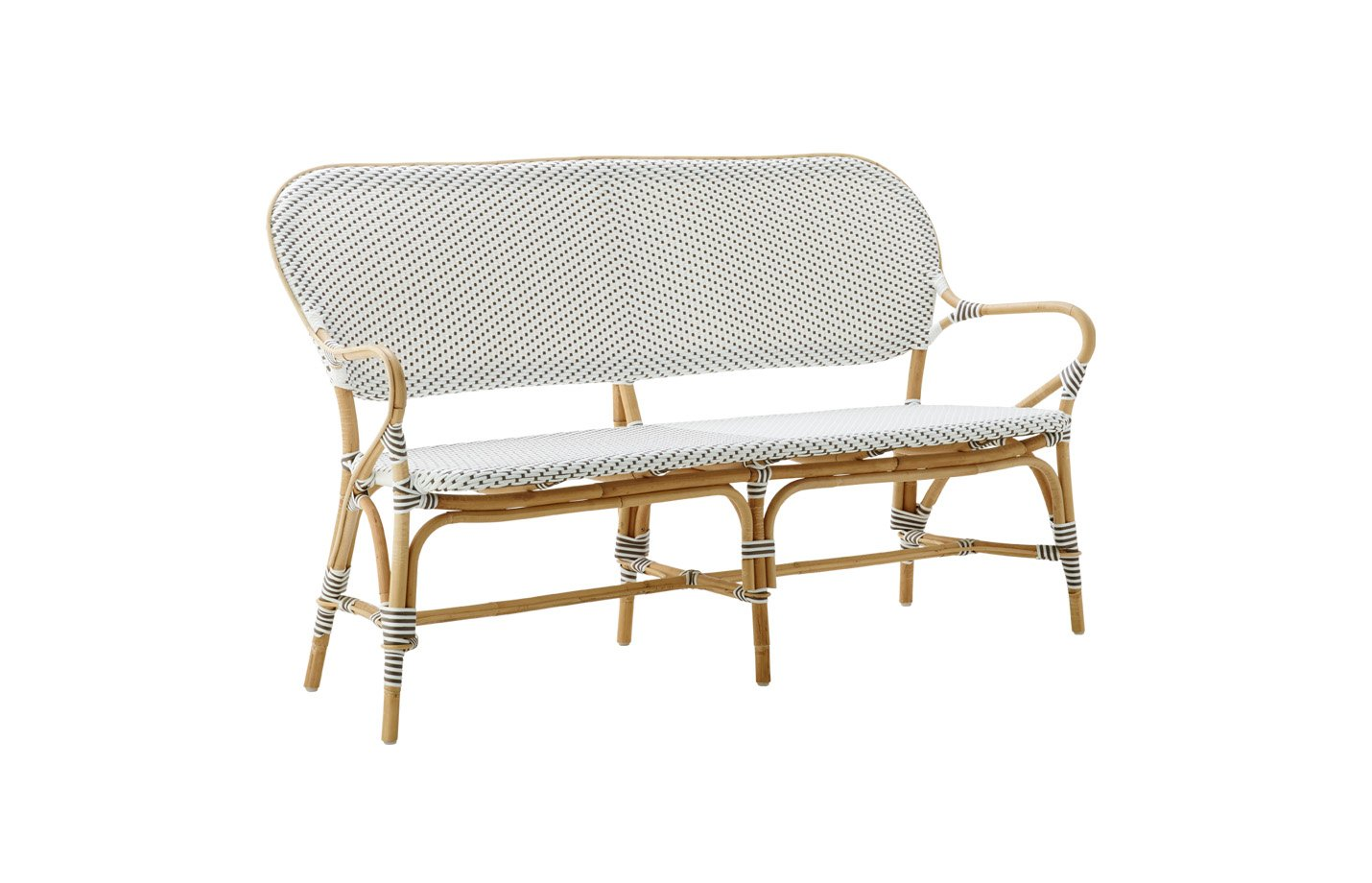 Isabell bench – rattan – White