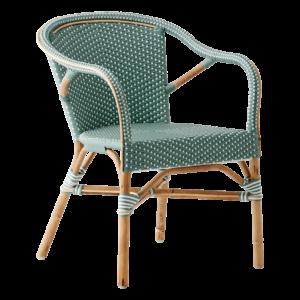 Madeleine chair - armrest - Rattan - salvie - green - White