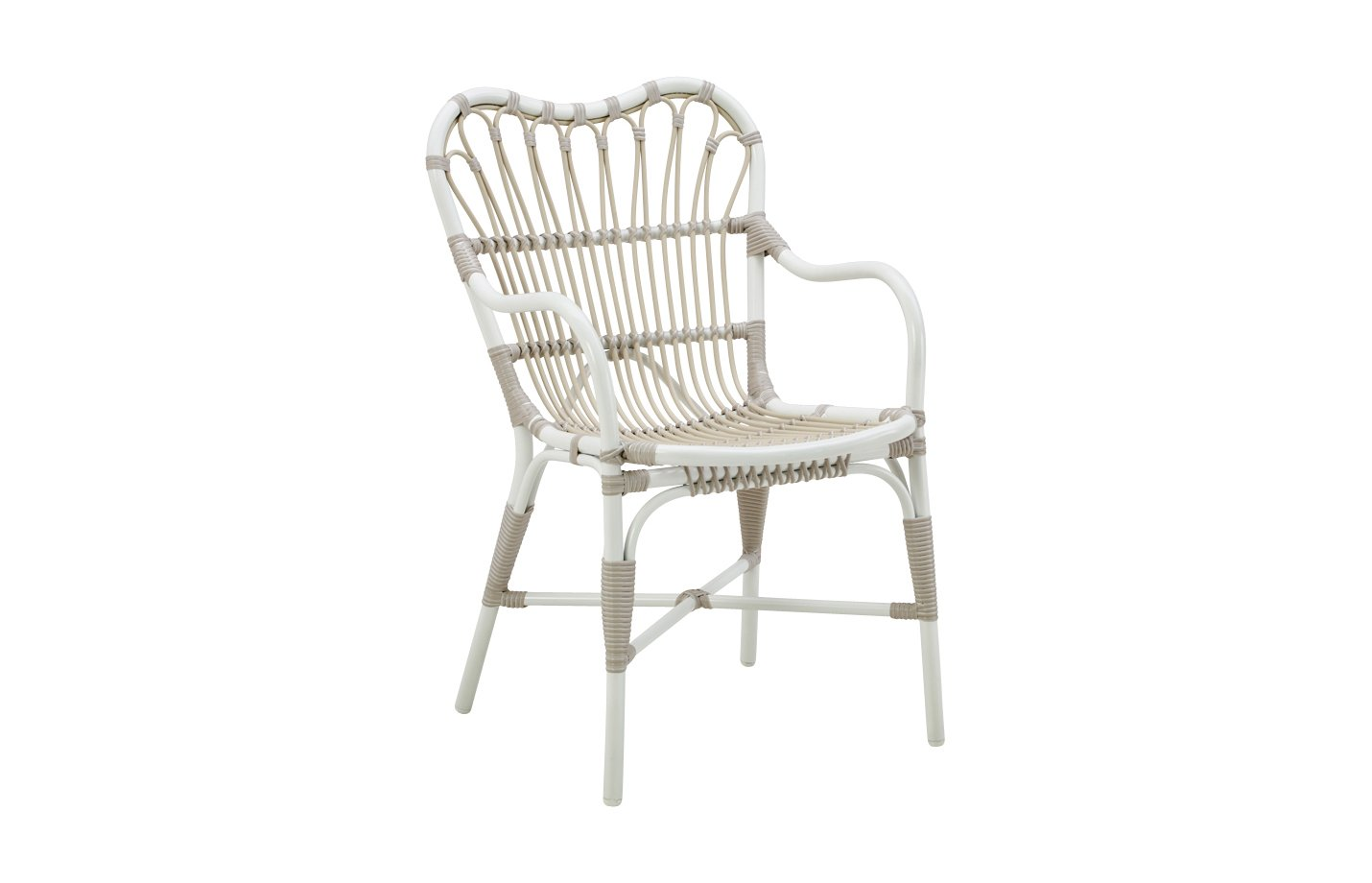Margret chair Alu rattan – dove – white