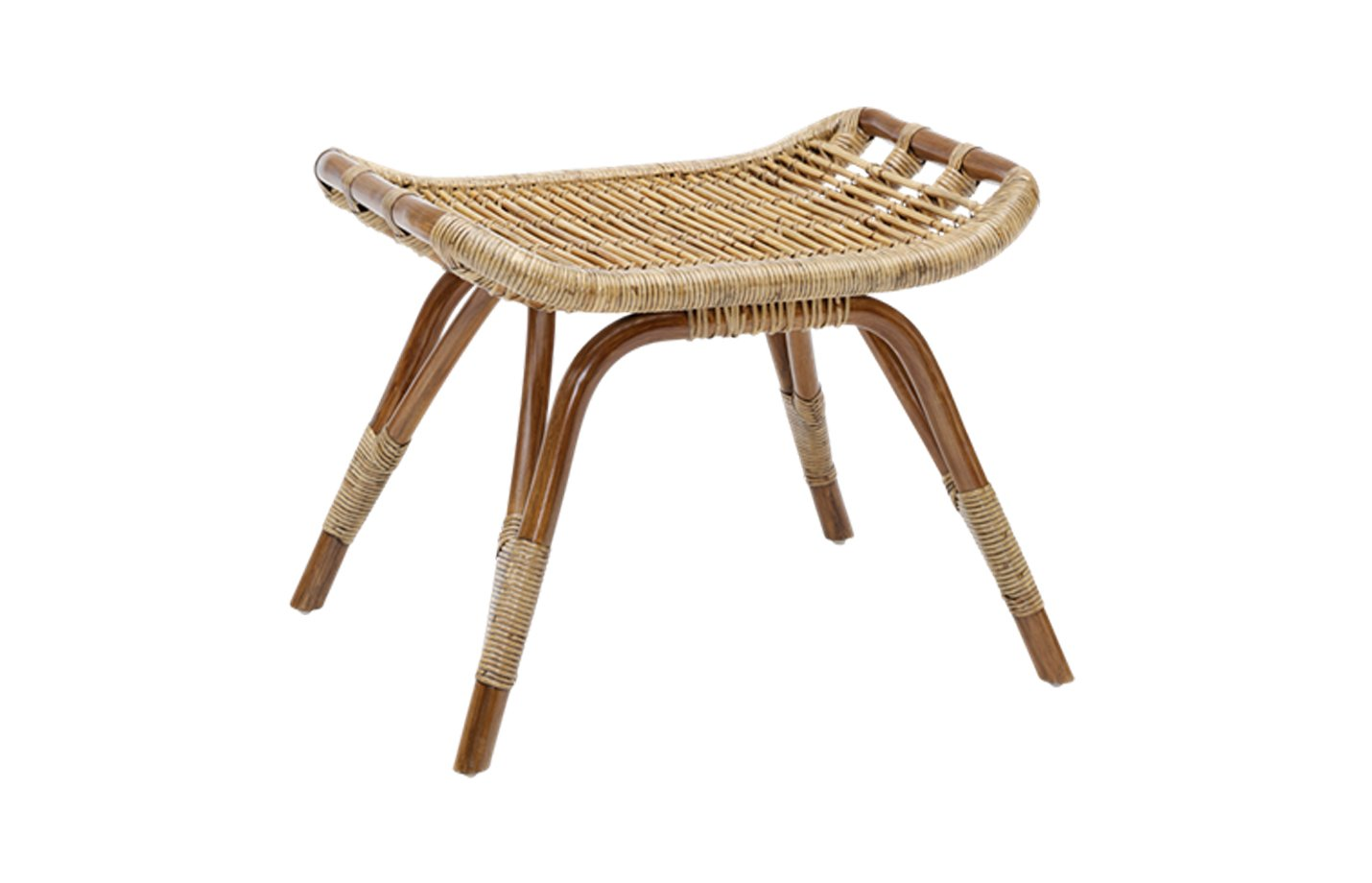 Monet footstool – Rattan – Antique