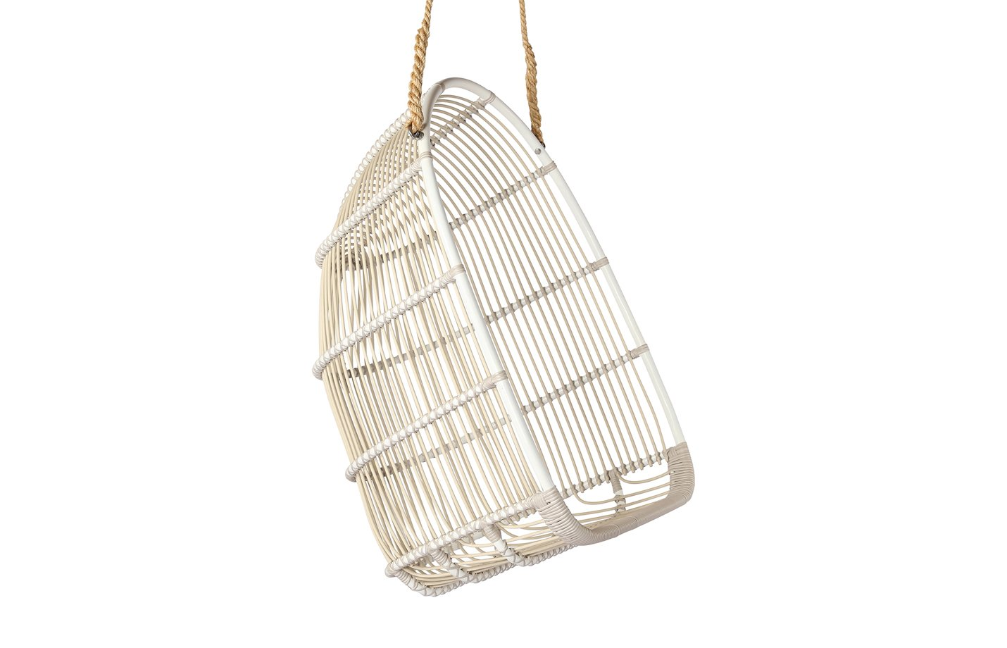 Renoir swing chair – alu-rattan – dove white