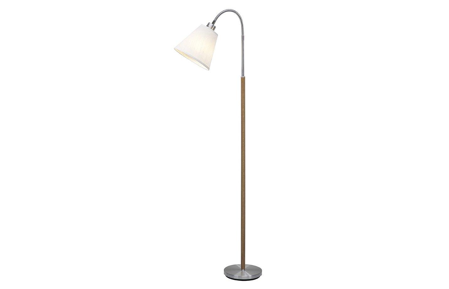 Sara single floor lamp – aluminium – oak
