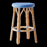 Simone-counter-stool-Aqua-blue-White-dot