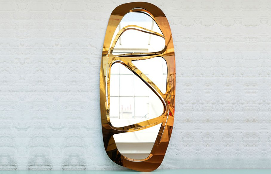Web Oval Mirror – Gold