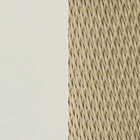 Aluminium Matt Warm White + Natwick Sand Beige Tight Weave
