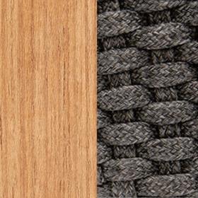 Natural teak + Flat Rope Lava Grey