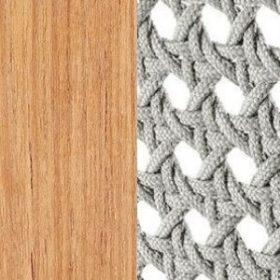 Natural Teak + Round Rope Light Grey