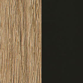Pickled teak + Aluminium Textured matt Sepia Black